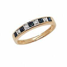 Eternity Ring Sapphire and Diamond Yellow Gold Anniversary Size J-Q Certificate