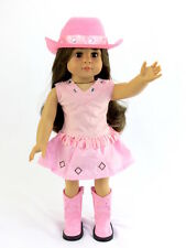 """Pink Western Cowgirl Outfit w/ Boots Hat Fits 18"""" American Girl Doll Clothes"""