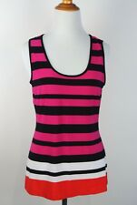 Bianca Nygard Petite Tank Striped Size S-M Stretch Multi-Color Black Pink