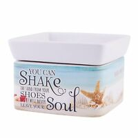 Shake the Sand from Shoes White 2-In-1 Jar Candle and Wax Tart Oil Warmer