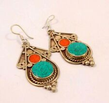 Plated Handmade Earring Jewelry Jc6587 Turquoise & Coral .925 Silver