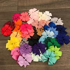 Pigtails Set of 10 pair pinwheel hair bow  toddler alligator clip handmade 3�-4�