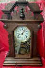Ingraham 1895 Walnut 8 Day Striking Calendar Parlor Clock