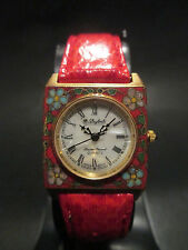 B46 Rare Dufonte by Lucien Piccard Lady Square Genuine Leather Band Dress Watch