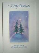 "Carlton ~ GLITTERY ""TO MY HUSBAND..."" CHRISTMAS GREETING CARD + ENVELOPE"