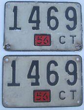 Connecticut 1956 License Plate PAIR # 1469