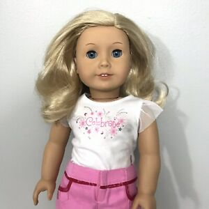 """American Girl 18"""" Doll JLY Blond Wavy Hair with Blue Eyes"""