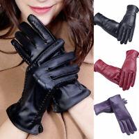 Women PU Leather Full Fingers Gloves Touch Screen Velvet Warm Driving Mittens