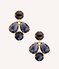 Kate Spade Kaleidoscope Gem Sapphire Blue Coated Setting Drop Big Jewel Earrings