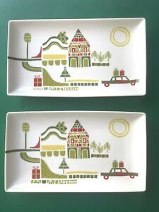 Set of Two CRATE + BARREL Julia ROTHMAN YULE TOWN Christmas Appetizer Plates