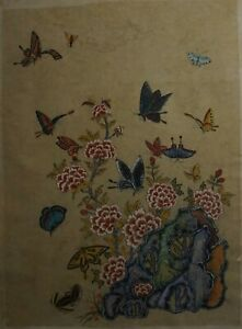 Antique Korean MinHwa Folk Hand Painting Butterflies, Frogs & Insects