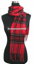 "New 100% 2-Ply Pure Cashmere Scarf Muffler 70""x11"" w/ Scottish Tartan Plaid, Red"