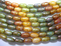 25 7x4mm Rainbow Picasso Luster Rice Oval Czech Glass Beads