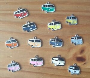 Enamel Campervan Camper Bus Charms 8 Colours Pack of 5 Single or 8 Mixed Colour