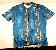 HIND Men's Short Sleeve 1/2 Zip Cycling Jersey Abstract Polyester Sz. L