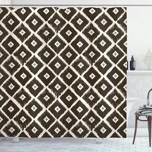 Tribal Shower Curtain Diamond Shaped Abstract Print for Bathroom