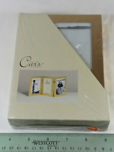 """TRI FOLD METAL PICTURE FRAME- NEW- GOLD TONE, FITS 4"""" x 6"""" PHOTOS"""