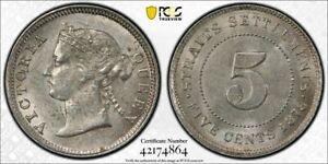 Straits Settlements Queen Victoria 5 cents 1878 about uncirculated PCGS AU58