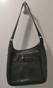 FOSSIL Embossed Green Leather Shoulder Bag Hobo Purse