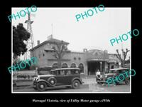 OLD LARGE HISTORIC PHOTO OF WARRAGUL VICTORIA, THE UTILITY MOTOR GARAGE c1930s
