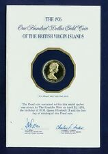 BRITISH VIRGIN ISLANDS  1976 100 DOLLARS PROOF GOLD COIN, IN ORIGINAL PACKAGING!