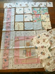 Fabric Scrap Lot Beatrix Potter Frederick Warne Flannel + Cotton Pillow Panel