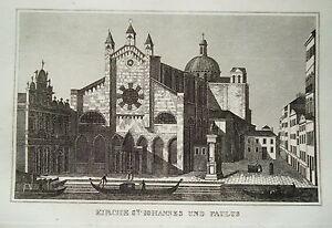 Venice Venezia Italy Italia Johanniskirche Old Copperplate 1835