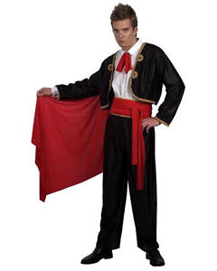 Mens Matador Bull Fighter Spanish Fancy Dress Bullfighter Costume Outfit  New L