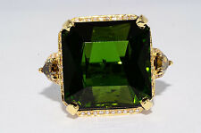 $40,000 29.09Ct Natural Green Tourmaline, Orange-Green & White Diamond Ring 18K
