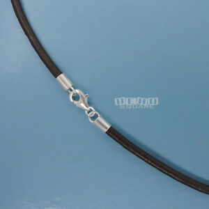 Sterling Silver 2.5mm Round Genuine Leather Cord Necklace Choker Lobster Clasp