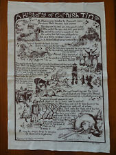 """New listing Lorna Wiles Textiles """"A History of Cornish Tin"""" Tea Towel Printed in Cornwall"""