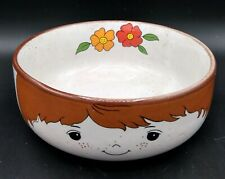 "Vintage 1970's Fred Roberts Boy Face Flower 5"" Cereal Soup Bowl Interpur Child"