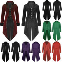 Vintage Mens Tailcoat Jacket Goth Steampunk Uniform Costume Praty Outwear Coat A