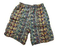 Vintage Mens Board Shorts Size S Length Beach 90s Bright Loud Surfing Mambo