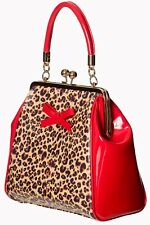 Women's Red Leopard Rockabilly Bow Clasp Vintage Retro Hand Bag Banned Apparel