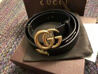 "Authentic New Black Gucci belt GG Monogram Buckle Marmont Soho Logo 90cm 36"""
