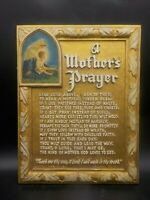 Antique Vtg A Mothers Prayer Esther Johnson Wall Plaque Psalms Syroco Look Gold