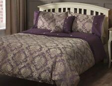 LUXURY Purple Gold Damask Jacquard DOUBLE Duvet Set NEW Gift Chic Boudoir
