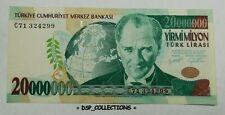 BANKNOTE, BILLET- Turquia Turkey Turquie, 20000000 Lira 2001, SPL #105B01