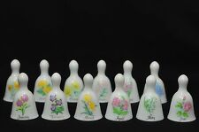 Collectible Russ Porcelain Miniature Floral Birthday / Monthly Bells, Set of 12