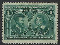 Scott 97: 1c Quebec Tercentenary Cartier and Champlain, F-VF-HR