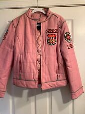 Women's Pink Leather Jacket Quilted Racer Style 3X G Collection