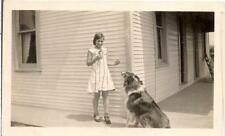 Pretty Tween Girl & Her Attentive Waiting Patiently Lassie Collie Dog 1931 Photo