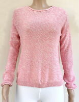 New Look Drop Sleeve Button Back Jumper Sweater Pullover Top Pink S 100% Cotton