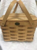 Vintage Picnic Pie Basket Woven Wood Double Handles Peterboro  ~USA~
