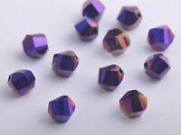 30pcs 10mm Twist Helix Crystal Glass Finding Loose Spacer Beads Purple Plated