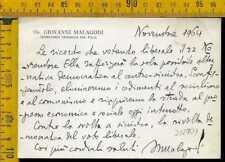 Autografo storia politica lh 701 Partito Liberale Giovanni Malagodi