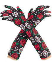 Day Of The Dead Sugar Skull Rose Long Adult Womens Costume Gloves