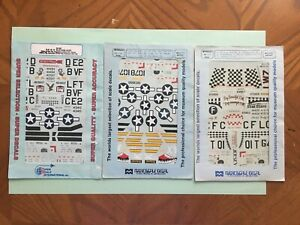 Microscale Decal 1/48 lot of 3, P-51's various Mustang Aces and more