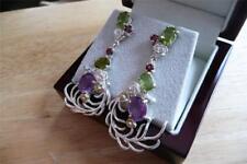 Purple Amethyst Green Peridot Rhodolite Garnet 925 Silver Drop Dangle Earrings